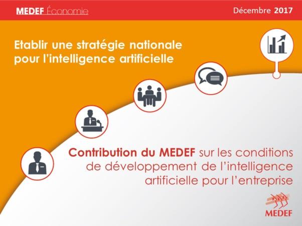 Stratégie nationale pour l'intelligence artificielle : contribution du MEDEF